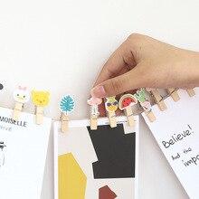 10 шт. бумажный зажим для фото с изображением животных из мультфильма, деревянные зажимы для хранения, вечерние декоративные зажимы, креативные канцелярские принадлежности для заметок, папки для самостоятельного изготовления