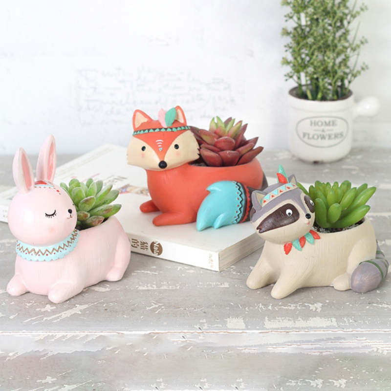 Cute Cartoon Animal Flower Pot Desktop Green Plant Pot Home Decoration Garden Planting Supplies Succulent Planter Pot