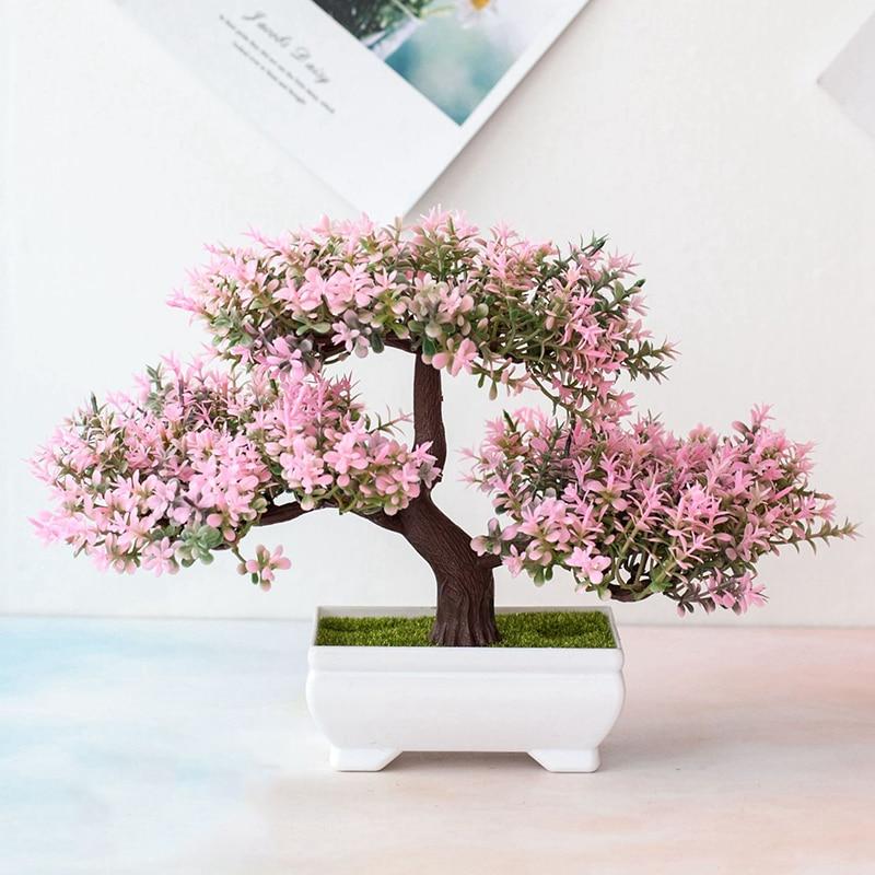 Fake Artificial Pot Plant Bonsai Potted Simulation Pink Tellow Plum Tree Home/Office Table Desk Decor