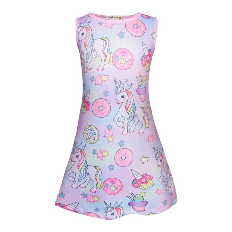 Summer Baby Girls Birthday Dress Unicorn 3D Print Kids Princess Costumes Party Cosplay Frocks Toddler Dresses Children Vestidos 3