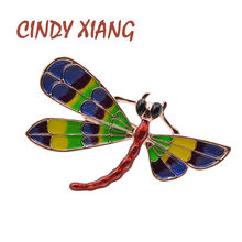 CINDY XIANG Enamel Dragonfly Brooches For Women Fashion Winter Design Insect Pin Coat Accessories Brooch & Pin Good Gift 2020(China)