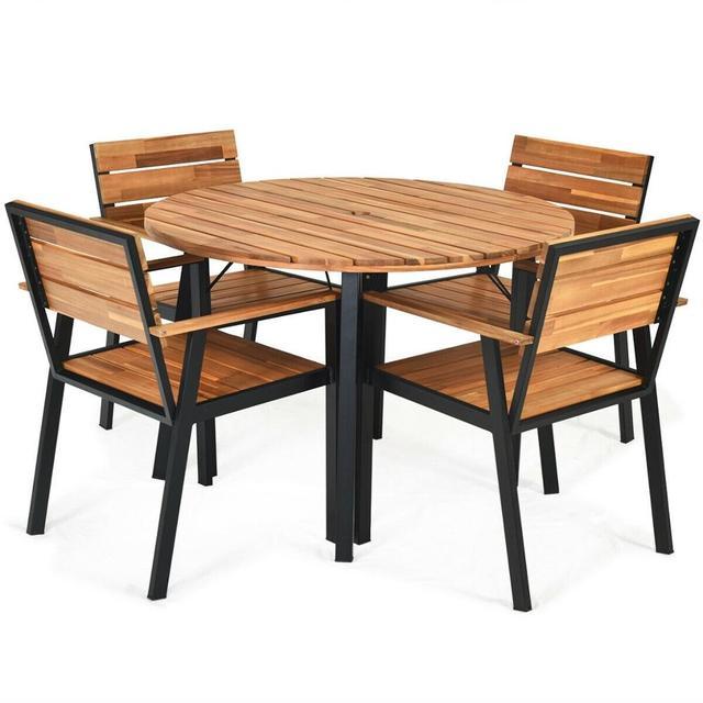 5 Pcs Patio Dining Chair Set with Umbrella Hole Weather Resistance & Umbrella Hole Design Patio Dining Set  Natural Design 6