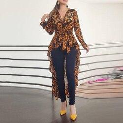 S-XXL размера плюс, Женская богемная рубашка с длинным рукавом и принтом, Женская Осенняя блузка, Повседневная Блузка с оборками и асимметричн...