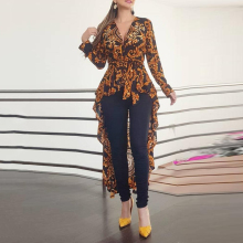 Autumn Blouse Shirts Female Tops Irregular-Hem Long-Sleeve Bohemian-Printed Ruffles Plus-Size