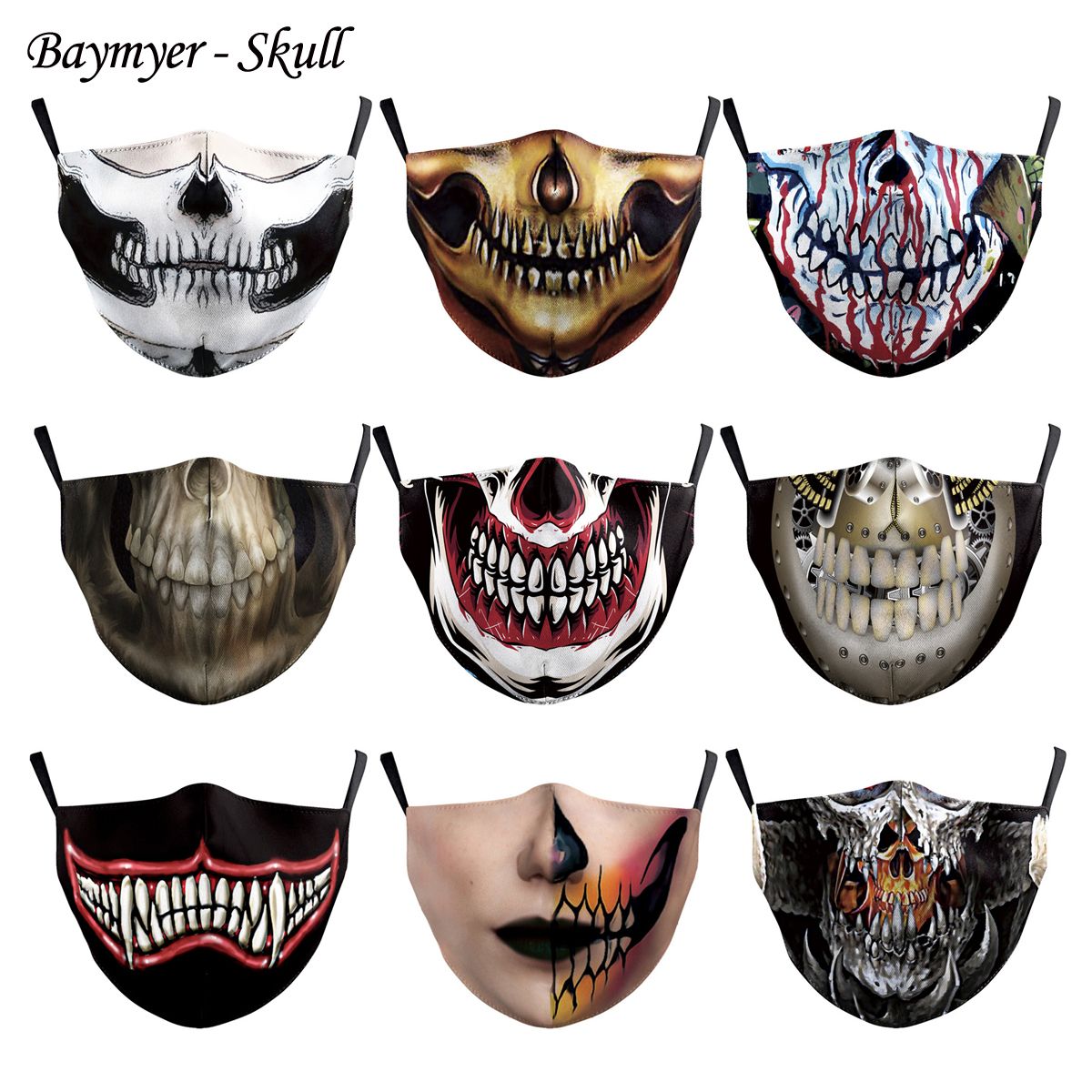 Skeleton Skull Horror Teeth Mouth Cover Mask Adult Youth Balaclavas Washable Outdoor Windproof Dustproof Face Masks