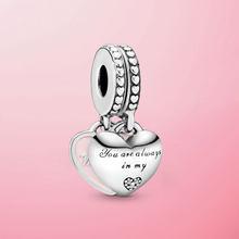 925 пробы серебро мать и дочь сердца с позолоченным кольцом, драгоценные бусины, подходят к оригинальным браслетам Pandora, брелоки, бижутерия дл...