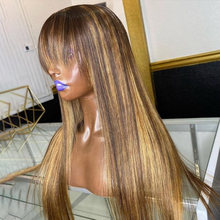 Fringe Wig Highlight Wig Brown Colored Ombre Human Hair Wigs Ombre Straight Lace Front Wig Highlight Lace Front Human Hair Wigs