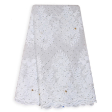 Bestway Hot Sale French Lace Fabric  White color Nigerian Embroidery Flower With Stones For Women Dress African lace fabric