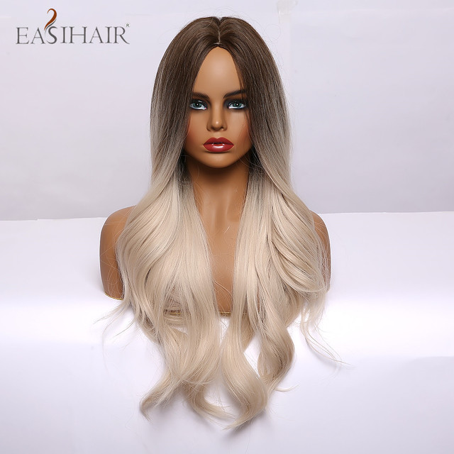 EASIHAIR Ombre Brown Light Blonde Platinum Long Wavy Middle Part Hair Wig Cosplay Natural Heat Resistant Synthetic Wig for Women 4