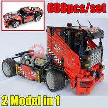 цена на New 2in1 Racer Truck Technic Car Fit Legoings Technic Car Truck City Model Building Block Bricks DIY Toys Kid Gift Birthday