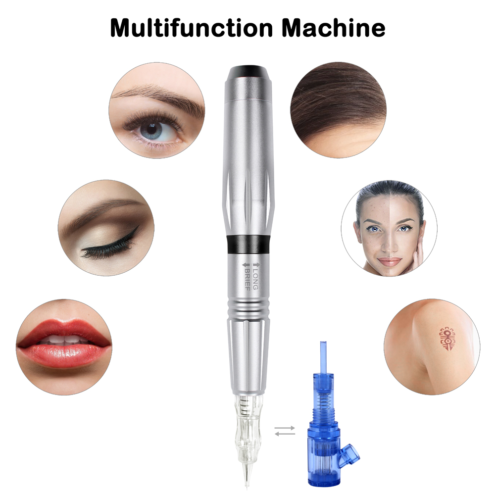 Permanent Makeup Machine Tattoo Gun Professional Swiss Motor Tattoo Pen For 3D Eyebrow With Biomaser Needdles Set