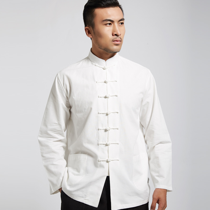 Massive Cotton Coarse Cloth Chinese Costume Shirt Chinese Style Base Shirt Four Seasons Slim Models 7 Buckle Youth Version F609