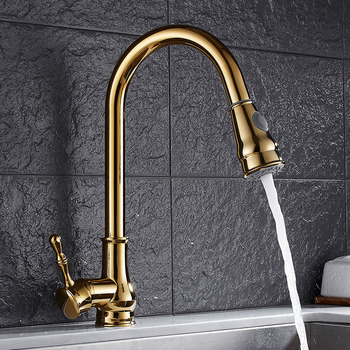 Vidric Newly Arrived Pull Out Kitchen Faucet Gold/Chrome/nickel/black Sink Mixer Tap 360 degree rotation kitchen mixer taps Kitc