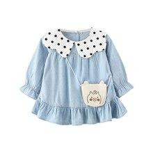New Baby Girl Dress 0-3T Autumn Toddler Ruffled Decoration Girls Fashion Trend Dot Print Long-sleeved Denim