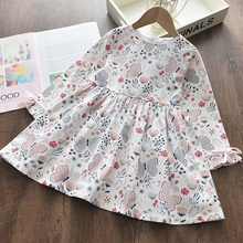 2020 New Fashion Girls Dresses Kids Girl Dress Printing Long Sleeve Princess Dress Casual Kids Dresses Floral Children Clothing fhadst new striped patchwork character girl dresses long sleeve cute mouse children clothing kids girls dress denim kids clothes