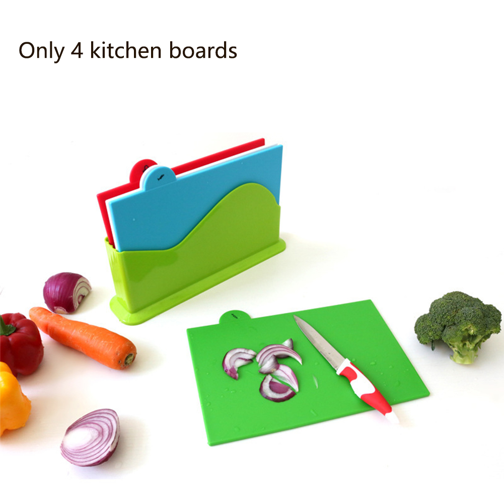 Kitchen-Tool Cutting-Board-Set Vegetable Anti-Slip Plastic Home 4pcs With Base Classified-Mat