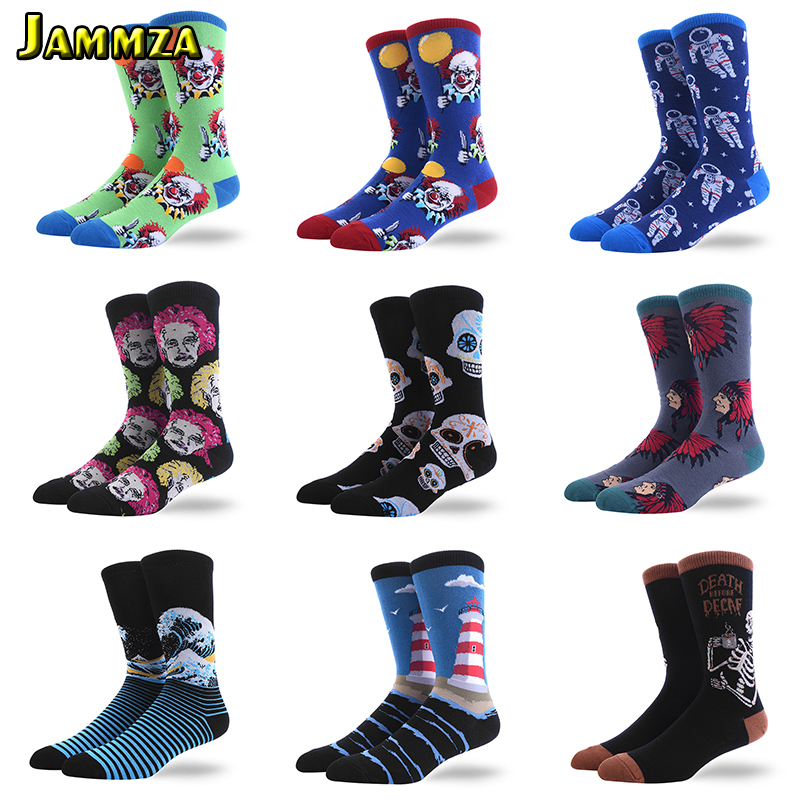 Men New Funny Alien Fashion Socks Grimace Painting Harajuku Europe Cotton Hiphop Creative Large Size Scary Retro Casual Hot Sock