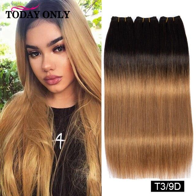 Сегодня только цвет волос двойной нарисованный прямые бразильские натуральные кудрявые пучки волос 12A remy волосы для наращивания Омбре #3/8/9/...