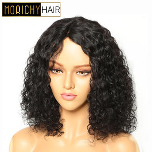 Morichy Bob-Wigs Short Curls Human-Hair-Part Seam Malaysian Lace-Head Black-Color Natural