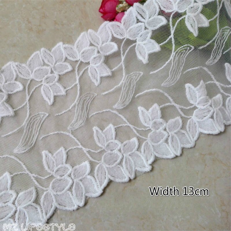 100x13cm Width Embroidery Lace Trim For  DIY Crafts High Quality Tulle  Lace Trim Fabric For Sewing & Home Decoration