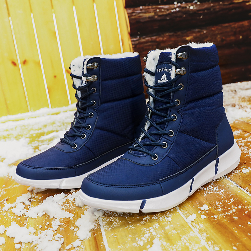 Fashion Winter Boots Men Fur Warm Leather Men Boots Plush Waterproof Lightweight Shoes Male Outdoor Big Size 36-48