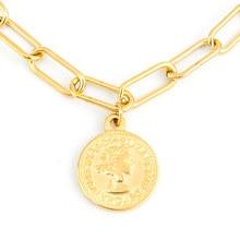 Colar feminino cor do ouro longo o gargantilha colares elizabeth moeda charme de aço inoxidável colares de moda boho jóias collier presente