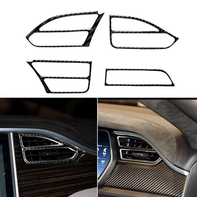Hot 4Pcs Carbon Fiber Center Console Air Vent Outlet Cover Trim For Tesla Model S X 2014-18