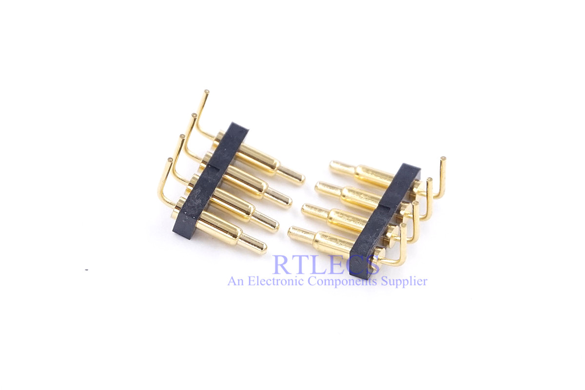 5 Pcs Spring Loaded Connector Pogo Pin Strip 4 Pin 2.54 Mm Pitch Right Angle Through Holes Height 9.5mm Gold Plated 1A