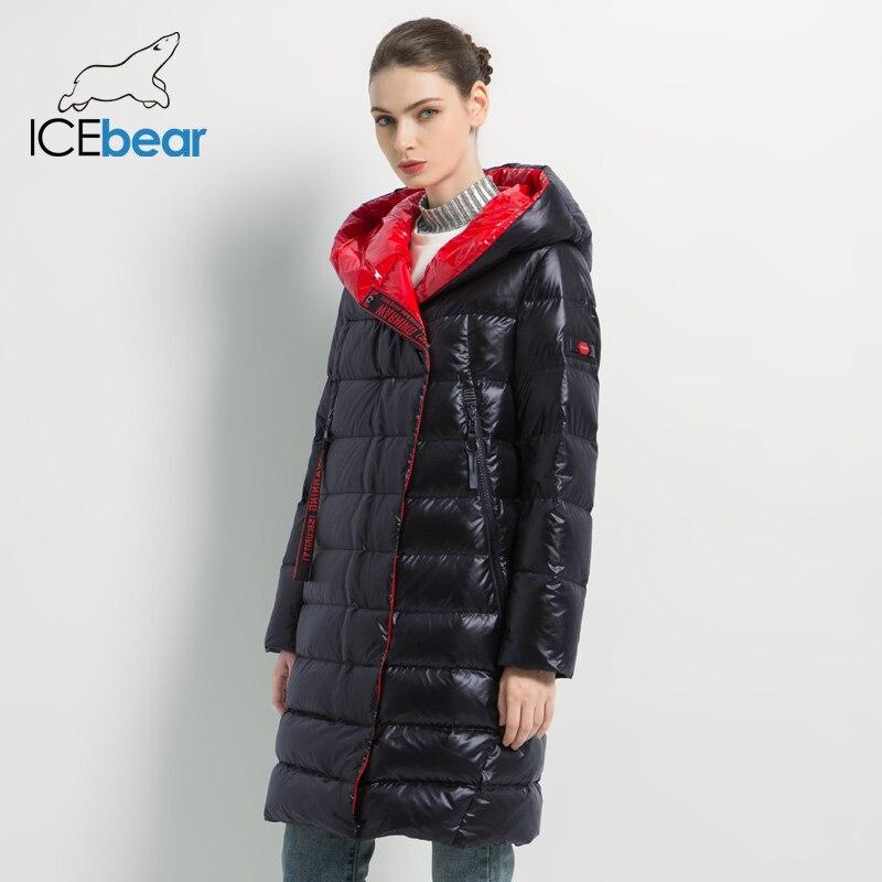 Kadın Giyim'ten Parkalar'de ICEbear 2019 kadın kış rahat ince ceket kadın moda ceket yüksek kaliteli yeni kadın kış ceket GWD19505I'da  Grup 2