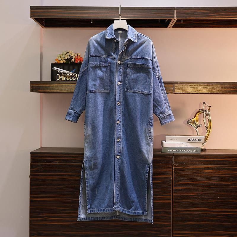 2019 Spring And Autumn Large Size Women's Denim Shirt Jacket Fashion Long Cowboy Windbreaker Jacket Female Cardigan Robe F2480