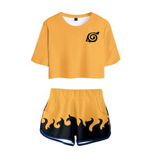 Trendy explosion 3D ladies suit Naruto printing sexy Fashion womens casual T-shirt+shorts