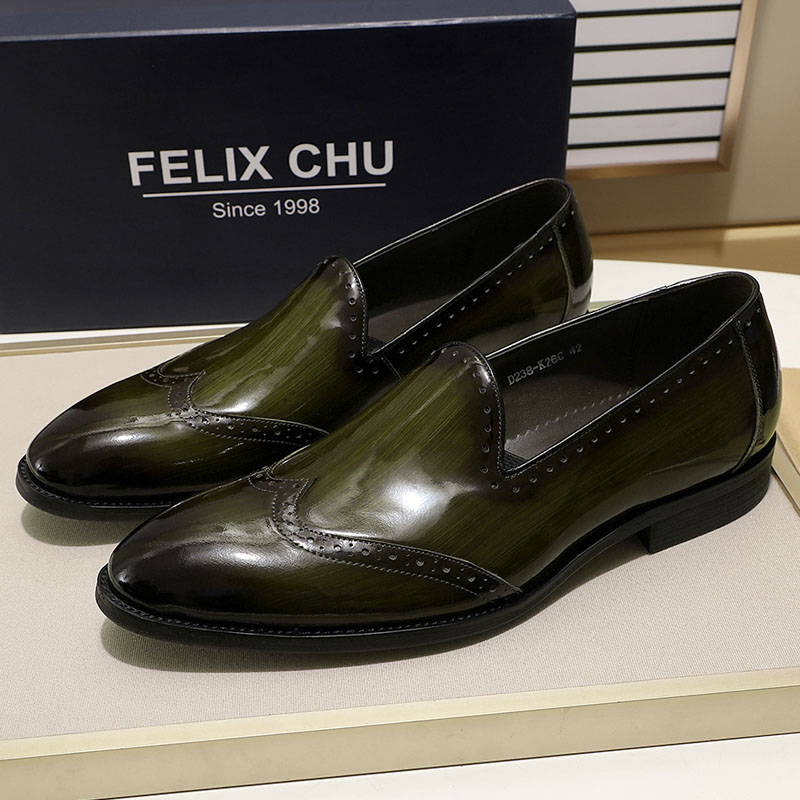 FELIX CHU Patent Leather Men Loafers Shoes Black Green Leather Mens Shoes Slip On Wingtip Wedding Party Dress Guangzhou Shoes