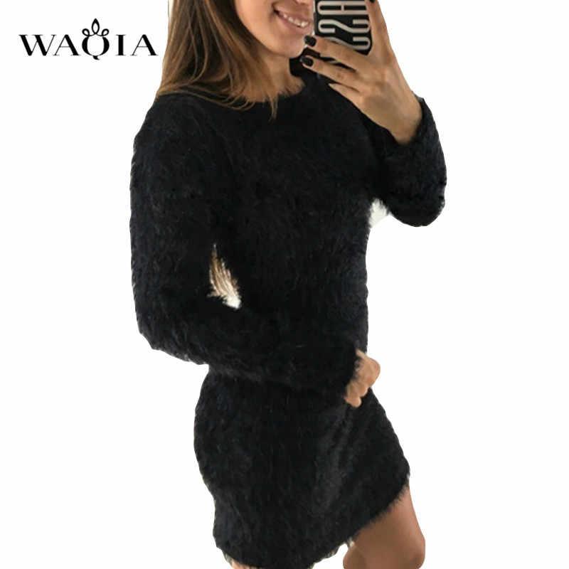 2019 Vestido de punto para mujer Otoño Invierno de manga larga Vestido de felpa sólido para mujer vestido de fiesta ajustado Sexy Mini vestido de punto de vendaje