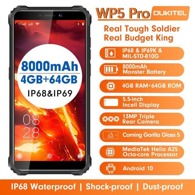 OUKITEL 4GB 64GB WP5 Pro Smartphone 8000mAh 5.5 Inches Android10 Mobile Phone Triple Camera Face/Fingerprint Unlock IP68 Phone 2
