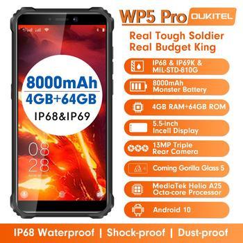 OUKITEL WP5 Pro IP68 Waterproof Smartphone 8000mAh Triple Camera Face/Fingerprint Unlock Android 10 5.5 inches 4GB 64GB Mobile