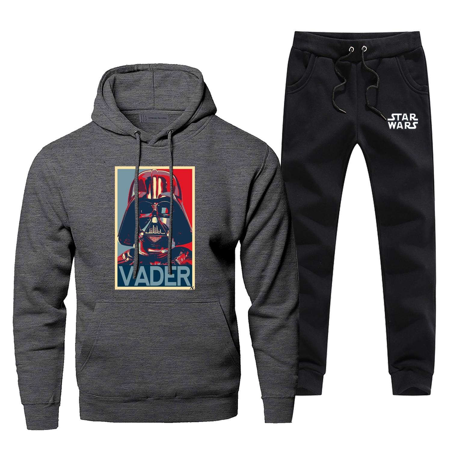 Star Wars Darth Vader Men Hoodies Sweatshirts Pants Sets Hooded Hoodie Suit Tracksuit 2 PCS Hoody Join The Empir Pullover Set