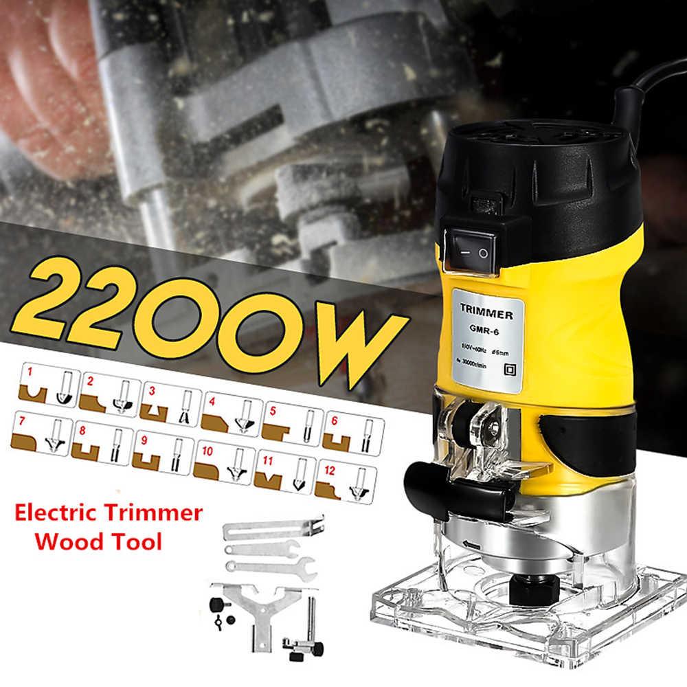 2200 ワット電気ルータ建具ウッドエッジトリマー木工ツール 30000RPM 電気トリミングマシン