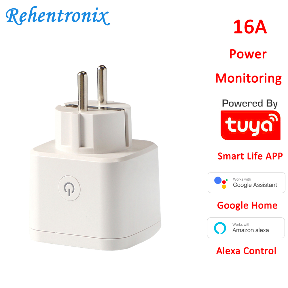 Alexa Google Home 16A Energy Monitoring Smart Plug EU Tuya Wireless WiFi Smart Socket