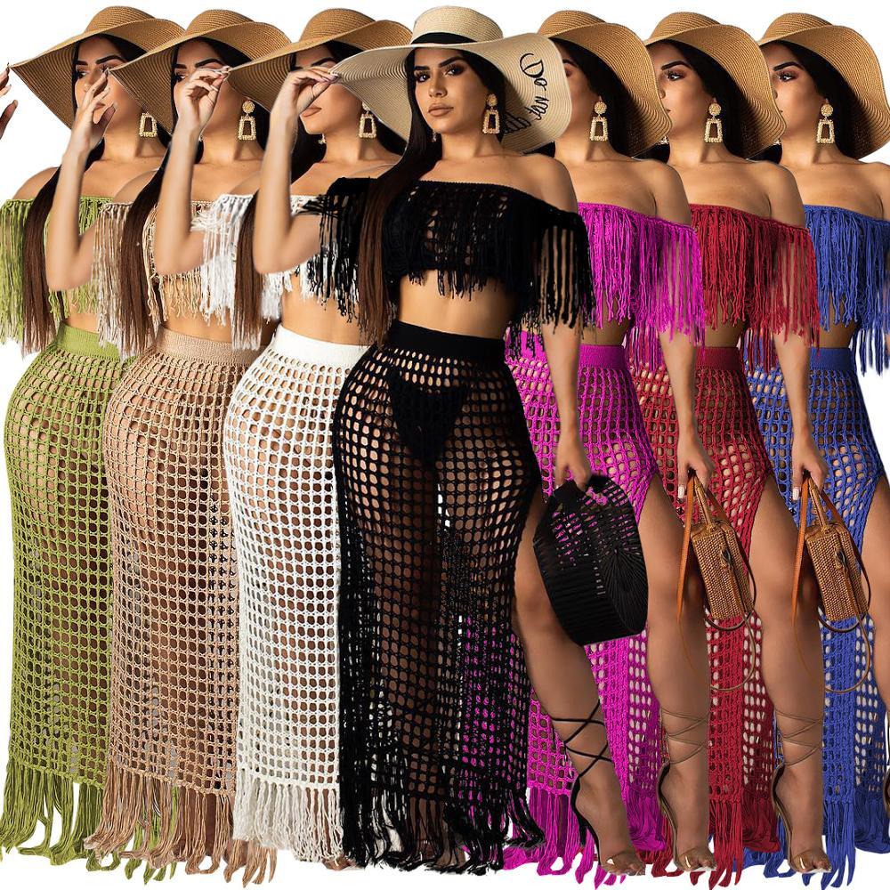 2020 Summer Fishnet Knitted Swimwear Beach Skirt See Through Bikini Cover Up Sexy Swimsuit Women Skirt Two Piece Set