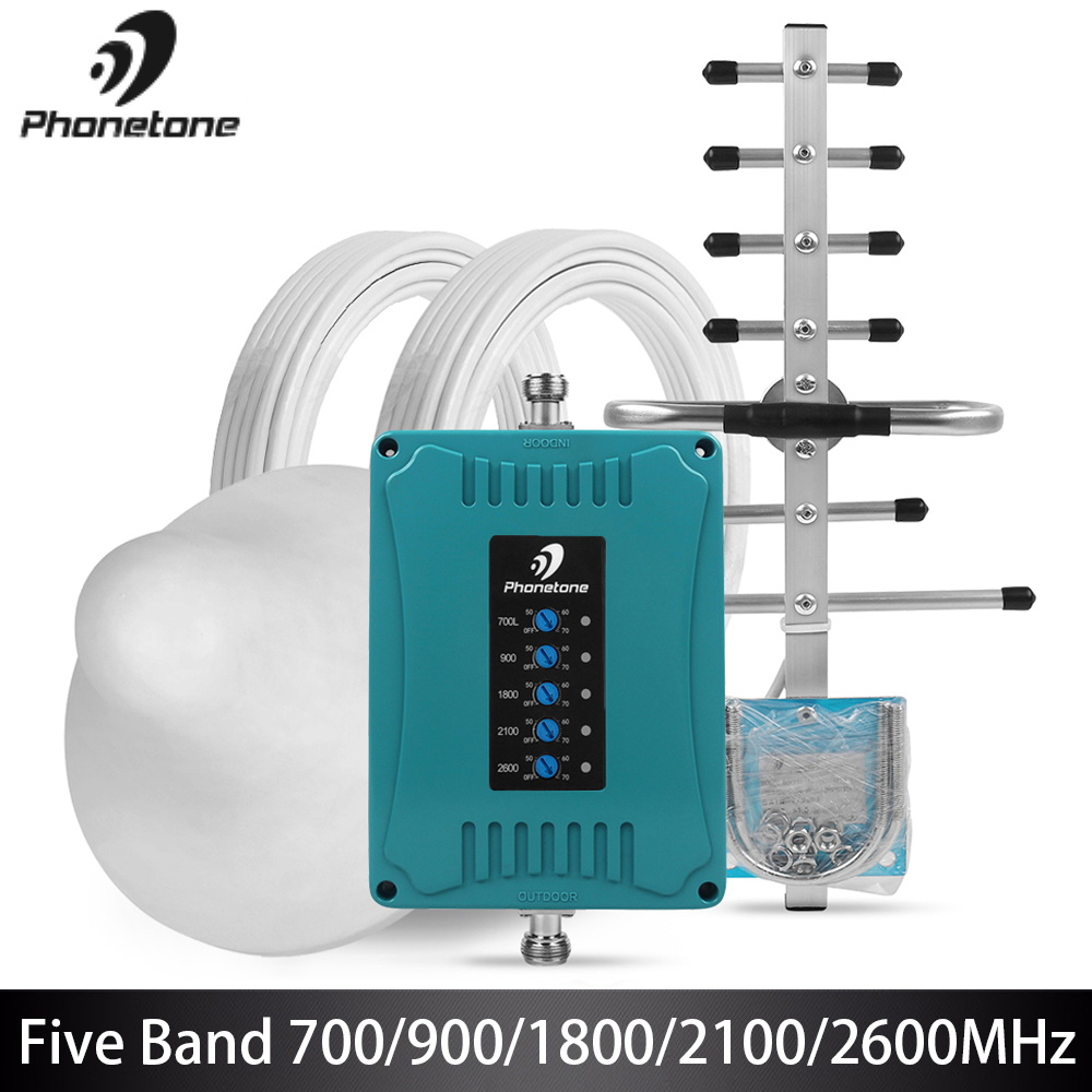 2G 3G 4G GSM Repeater 700/900/1800/2100/2600MHz Mini Maat cellulaire Signaal Booster 70dB Mobiele Versterker Set voor Band 28/8/3/1/7