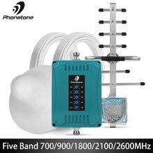 2g 3g 4g gsm 리피터 700/900/1800/2100/2600 mhz 미니 크기 셀룰러 신호 부스터 70db 모바일 앰프 세트 밴드 28/8/3/1/7