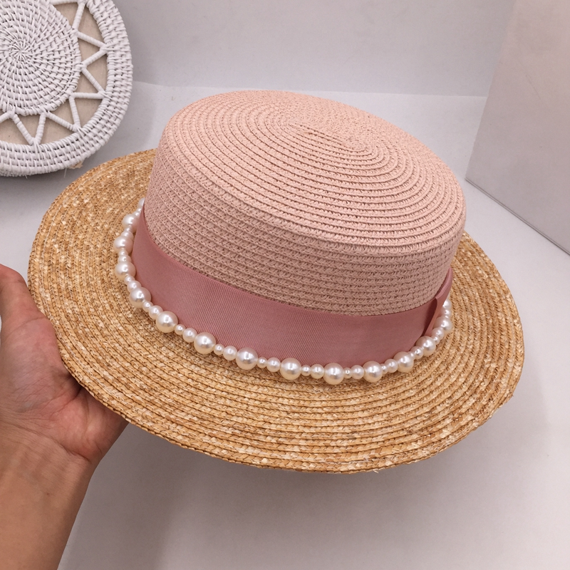 Spring summer color matching short straw flat eaves pearl M standard hat shading is prevented bask