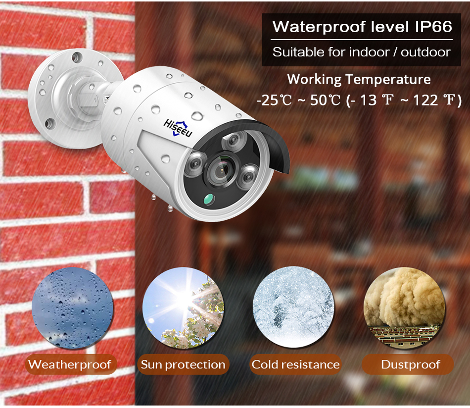 Hiseeu 4MP POE CCTV Camera Waterproof