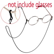 Copper Metal Fashion Glasses Chain Black Beaded Decorative Anti-slip Sunglasses Rope for Women