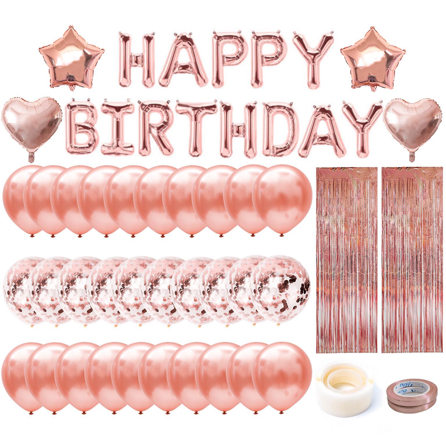 Rosa de ouro feliz aniversário carta folha balões adultos feminino decoração de festa do bebê 1 2 3 4 5 6 7 8 9 1st 30 40 50 anos de idade