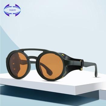 VCKA 2020 Steampunk Sunglasses Women Men Round Punk Leather side cover Sun Glasses Vintage UV400 Sunglass Shades gafas de sol
