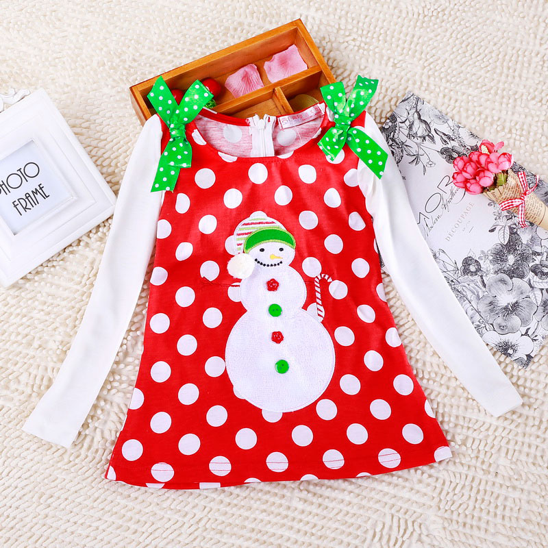 H22d203b6b29840bc8c77f6585ee7e6c6r 2-6T Santa Claus Christmas Dress Kids Party New Year Costume Winter Snowman Baby Girl Clothes Christmas Tree Children Clothing