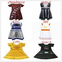 Вдохновленное платье принцессы для девочек, Звездные войны, Вейдер, R2D2 C3PO Chewbecca BB8, платье, подарок на день рождения, летние каникулы, вечерни...
