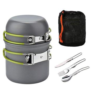 New Outdoor Camping Cookware Set Portable Tableware Cooking Travel Cutlery Utensils Pot Pan Hiking Picnic Tools Green Handle Pot image