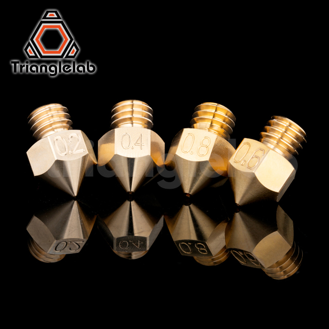 trianglelab Top quality Brass MK8 Nozzle for 3D printers hotend 1.75MM Filament  J-head cr10 heat block ender3 hotend m6 Thread 2